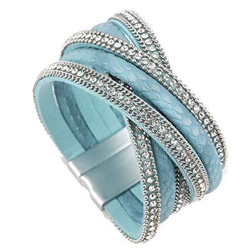 Leather Bracelet Women Jewelry X Cross Magnet Snake Skin Pattern Rhinestone Wrap Bracelets & Bangles Female Blue