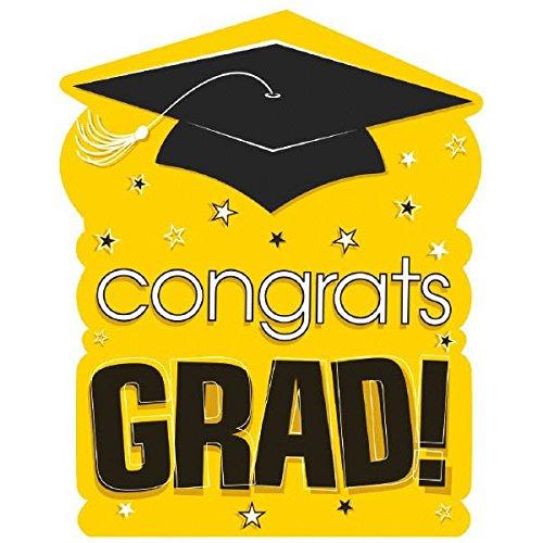 "Amscan ""Congrats Grad!"" Graduation Party Large Cutout Decoration, Yellow/Black, 10 1/2"" x 14"""