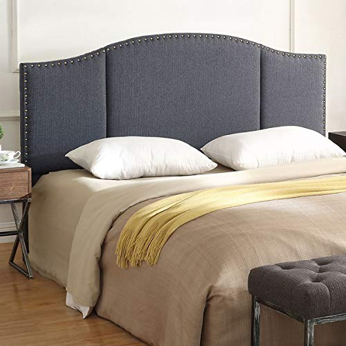 24KF Middle Century Linen Upholstered Tufted Headboard with Copper Nails Queen/Full headboard -Dark Gray (Full Size Bed Vs Queen Size Bed)