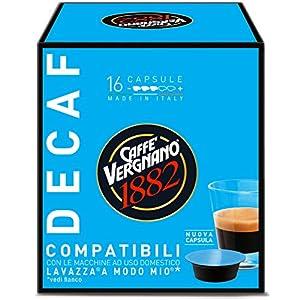 Caffè Vergnano 1882 Capsule Caffè Compatibili Lavazza A Modo Mio, Decaffeinato - Confezione da 16 capsule