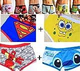 4 Pack Man's Cartoon Spongebob Superman Spiderman