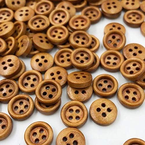 Yitang 芸術のための50/100個8ミリメートルミニブラウンウッドボタン4つの穴クラフト服縫製インテリアボタンレトロなデザ