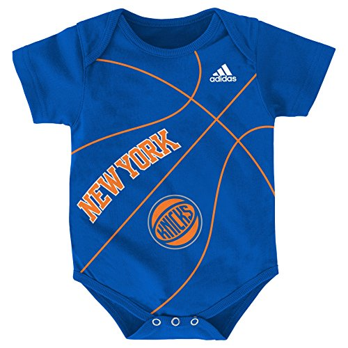 OuterStuff NBA New York Knicks Newborn Fanatic Basketball Creeper, Blue, 0-3 (Adidas Basketball Onesie)