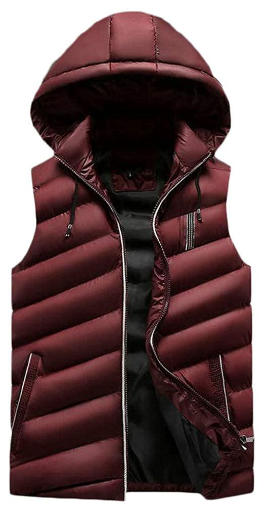 Pcutrone Mens Zipper Pocket Hoodid Simple Padded Quilted Jacket Down Vest