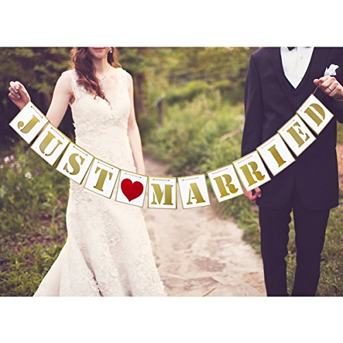Unomor Wedding Banner for Wedding Decorations Wedding Garland Bridal Shower Decor Wedding Photo Props Signs-JUST MARRIED (Decorations Wall Wedding)