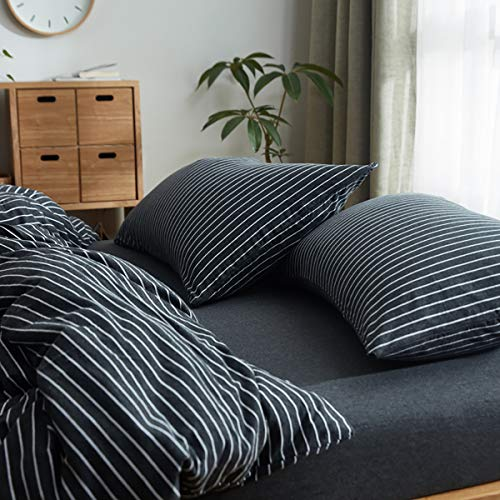 UUozzi Bedding 100% Knitted Cotton Pillow Shams 2 Pack -Jersey Knit Cotton Ultra Soft for Your Bed (Black White Stripes, 2 Pack Queen Pillowshams)