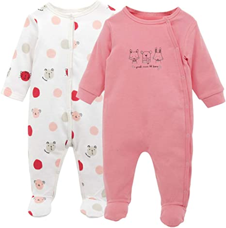 Pack de 2 Bebé Mono de Manga Larga Mameluco Body Algodón Peleles Comodo Pijama Regalo de Recien Nacido, 0-3 Meses: Amazon.es: Bebé