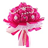 uxcell® Wedding Bridesmaid Polyester Bowknot Decor Flower Handhold Bouquet 9 Inch Dia Fuchsia