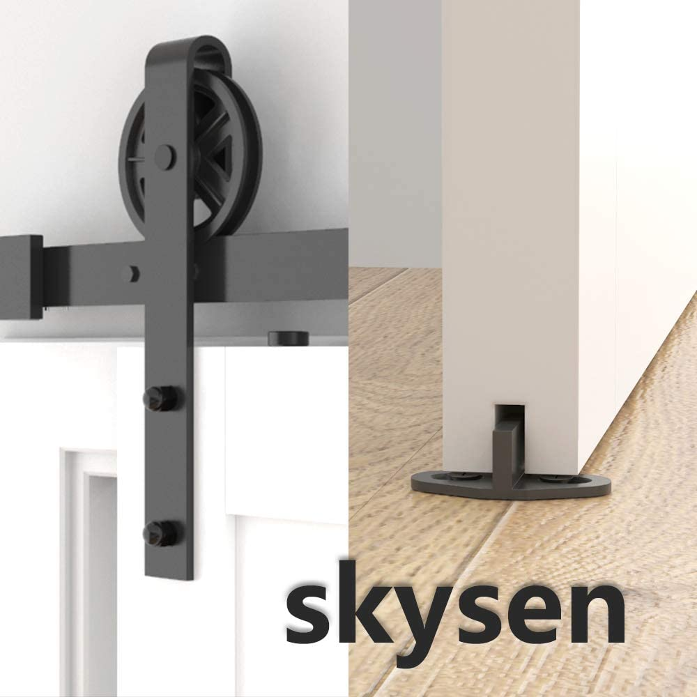 skysen 6.6FT Single Door Sliding Barn Door Hardware Track Kit Black Big Wheel