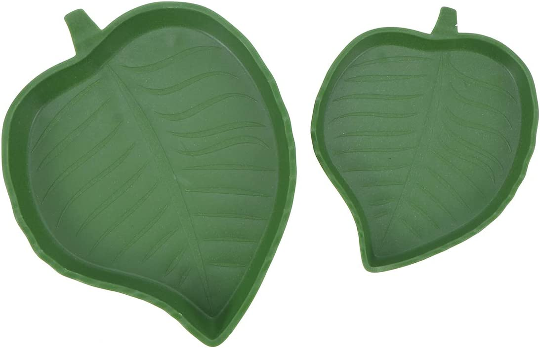 POPETPOP 2Pcs Leaf Design Plastic Prevent Tipping Moving and Chewing Food Dish Hamster Bowl for Small Rodents Gerbil Hamsters Mice Guinea Pig Cavy Hedgehog
