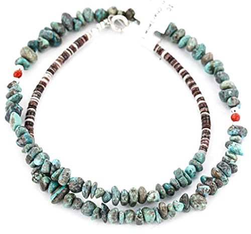 Native-Bay Delicate Authentic C Little Navajo Silver Natural Turquoise Coral Native American Necklace