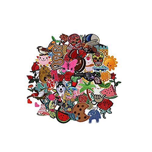Wholesale Gucci - Hwafan Random Mix 30PCS Fashion Assorted Size Decal Fabric Iron On Patches Embroidered Motif Badge DIY Decoration Applique For Jeans Clothes