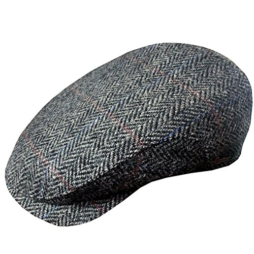 Wigéns Hans Harris Tweed Longshoreman Cap-BlackHerringbon...