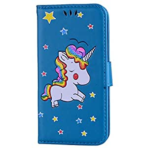 iPhone X Case,iPhone X Wallet Case, Ztongy Flip Case Rainbow Unicorn PU Leather Magnetic Flip Folio Cover with TPU Soft Bumper Case Cards Slot Cash Pockets for Apple iPhone X Case 2017 (Blue)