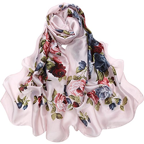 Silk Like Scarf Large Satin Headscarf Fashion Flower Wrap Neck Scarves for Women Pink
