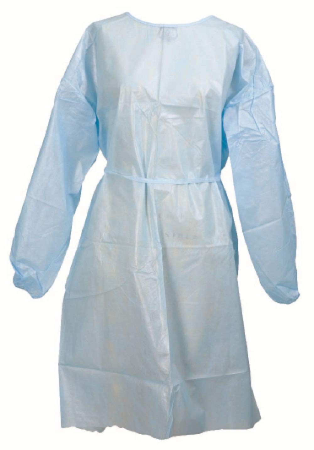 AMZ 50 pack Procedure Gowns. White Polyethylene-Coated Polypropylene Exam Gown for clinic, hospital, healthcare needs. Non-sterile Protective Gowns. Long sleeves, elastic cuff, full back. One size.