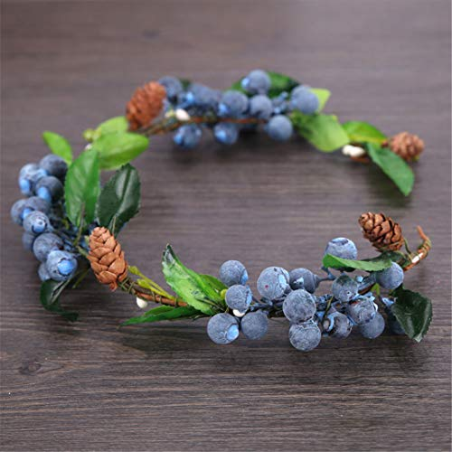 Bridal Forest Flower Headband For Women Color Fruit Wreath Wedding Hair Accessories Tiara Hairband Purple