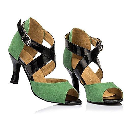 Ankle Kevin Salsa Women's Shoes Green Dance Fashion Wrap Latin Samba Tango Ballroom Satin qqxZSEH