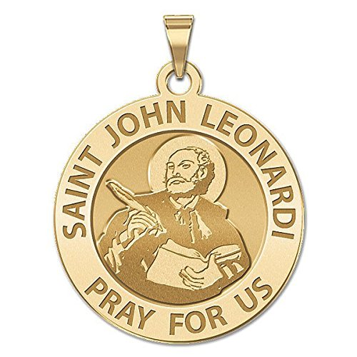 Solid 14K White Gold 1 Inch Size of a Quarter PicturesOnGold.com Saint John Leonardi Religious Medal