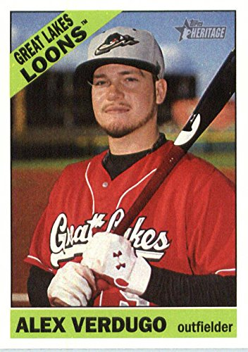 Alex Verdugo baseball card (Great Lakes Loons, Los Angeles Dodgers) 2015 Topps Heritage Rookie #140