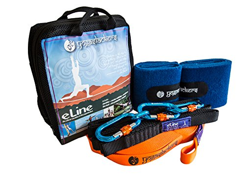 YogaSlackers FULL Slackline kit for Yoga and Balance training e-Line 50 foot with included Anchor Straps Locking Carabiners and Tree Protection by Slackline Industries