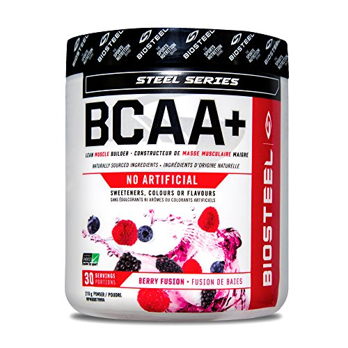 Biosteel BCAA+ - Sugar Free Branched Chain Amino Acid Powder, Preservative Free, Supports Muscle Repair, Berry Fusion, 30 Servings