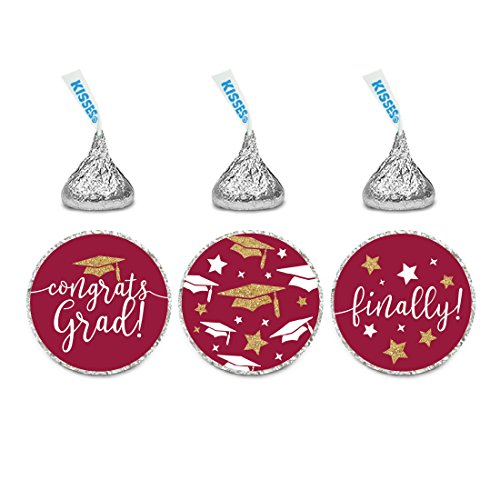 Andaz Press Burgundy Maroon and Gold Glittering Graduation Party Collection, Chocolate Drop Label Stickers Trio, 216-Pack, Fits Hershey's Kisses Party Favors (Toppers Kisses)