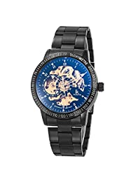 GuTe Casual Mens Black Steel Automatic Mechanical Wrist Watch Skeleton Coated Glass Golden Mov.