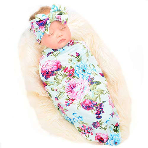 Galabloomer Newborn Receiving Blanket Headband Set Flower Print Baby Swaddle Receiving Blankets Blue Rose ()