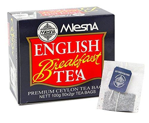 Mlesna English Breakfast Bags -Ozone Friendly Fine Tea 100 Individual Bags Best for Hot Tea or Iced Tea (2 Pack of 50 Tea Bags) ()