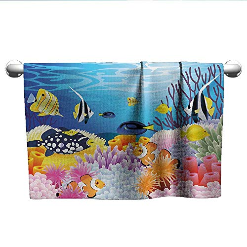 alisoso Fish,Hand Towels Water Life with Different Kind of Fishes Coral Reefs and Sponges Kids Nursery Theme Quick Dry Towel Multicolor W 24