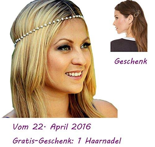 Ukamshop retro Metall Perle Schmuckkette Stirnband Kopfschmuck Haarband neu