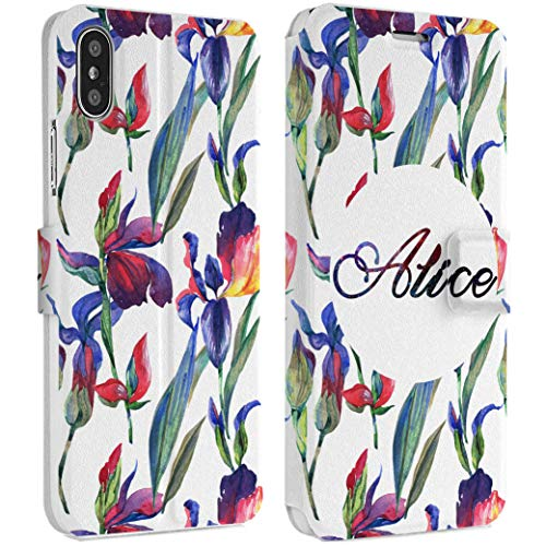 Wonder Wild Iris Flower Phone Wallet Case X/Xs Xs Max Xr Case 7/8 Plus 6/6s Plus Card Holder Accessories Smart Flip Hard Design Protection Cover Custom Name Monogram Text Personalized Ornament