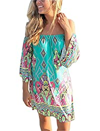 Women's Tropical Off Shoulder Strapless Bohemia Paisley Printing Top Beach Dress