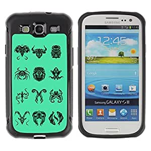 Hybrid Anti-Shock Defend Case for Samsung Galaxy S3 / Unique Zodiac Signs Collection
