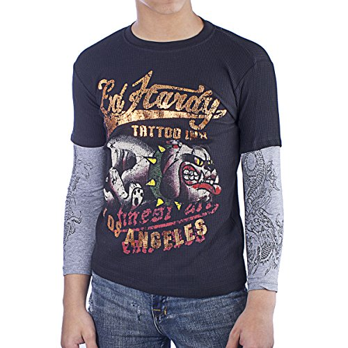 Ed Hardy Thermal (Ed Hardy Kids Bulldog Thermal Long Sleeve T-Shirt -Black - X-Large)