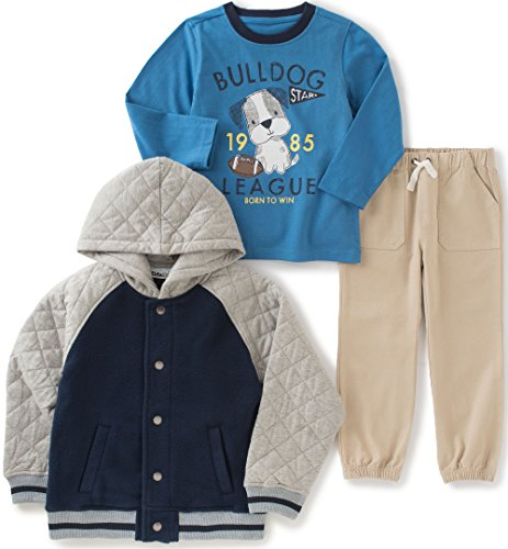 Kids Headquarters Baby Boys 3 Pieces Jacket Set with Twill Pants Set