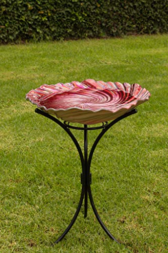 Alpine Corporation KPP464A-RD Birdbath with Stand, 26 Inch Tall, Red