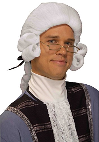 OvedcRay Adult Mens White Colonial Captain Patriot George Washington Costume Wig (Mens Colonial Wig)