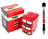 London Bus Ceramic Money Box + Guardsman British Queen Soldier Busby Pen