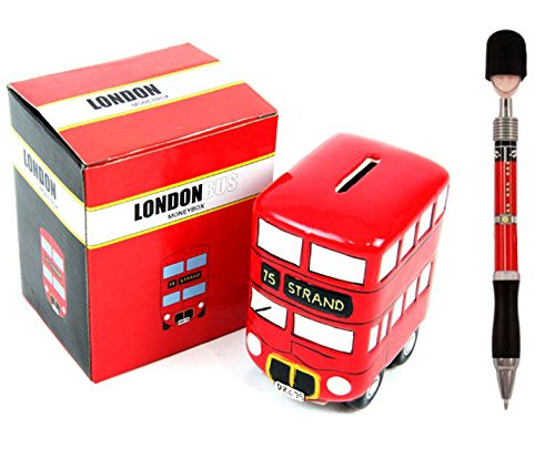 London Bus Ceramic Money Box + Guardsman British Queen Soldier Busby Pen by DangerousFX