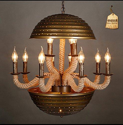 FAYM-Amerikanischen Stil rustikal Vintage Industrie- Wohn-Zimmer Essecke Eisen Hanfseil Kronleuchter