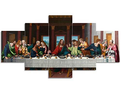 Last Supper Painting on Canvas Wall Pictures for Living Room Retro Vintage Christian Religion Wooden Modern 5 Piece Framed Posters and Prints Giclee Print Gallery Wrap Artwork Stretched(50''Wx24''H)
