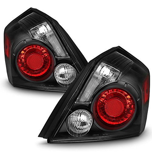 For Black 07-12 Altima Sedan Rear Tail Lights Brake Lamp Replacement Driver And Passenger Side Set ()