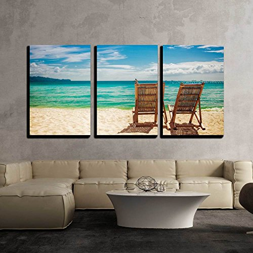 wall26 - 3 Piece Canvas Wall Art - Two Sitting Place in a Tropical Beach - Modern Home Decor Stretched and Framed Ready to Hang - 16