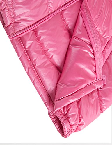 Spring&Gege Boys' Quilted Packable Hoodie Lightweight Puffer Jacket Windproof Outwear Children Warm Duck Down Coat for Boys and Girls Size 7-8 Years Pink by Spring&Gege (Image #8)