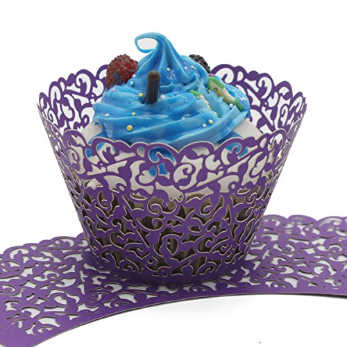 UNIQLED Filigree Artistic Bake Cake Paper Cups Little Vine Lace Laser Cut Liner Cupcake Wrappers Baking Cup Muffin Holder Case for Wedding Birthday Party Decoration (100, Purple)]()