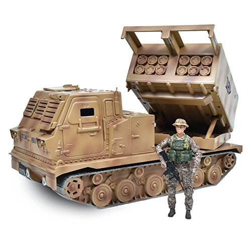 Elite Force US Army Assembly-Free Multi Launch Rocket System Toy Missile Launcher with 14-Point Articulation Action Figure and Moving Missile Launch Pad for Indoor and Outdoor Play