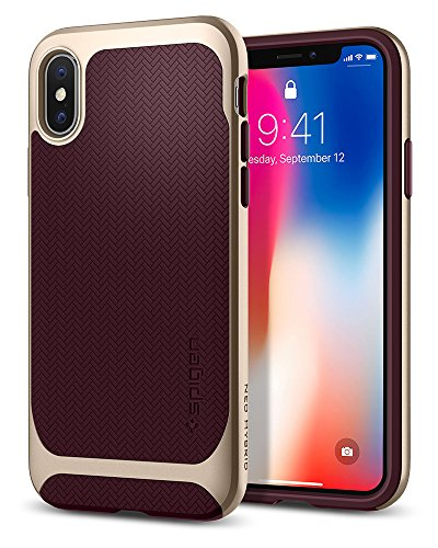 Spigen Neo Hybrid iPhone X Case Herringbone with Flexible Inner Protection and Reinforced Hard Bumper Frame for Apple iPhone X (2017) - Burgundy & Champagne Gold