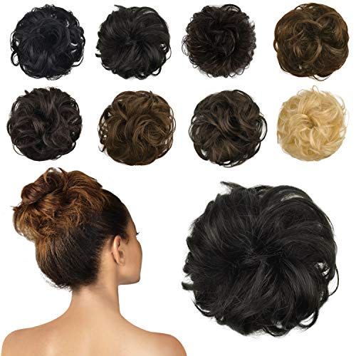 FESHFEN 100% Human Hair Scrunchies (1B Natural Black) Curly Messy Hair Bun Extensions Wedding Hair Pieces for Women Kids Hair Updo Donut Chignons